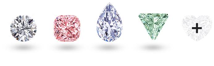 Kolorowe diamenty o różnorodnym kształcie
