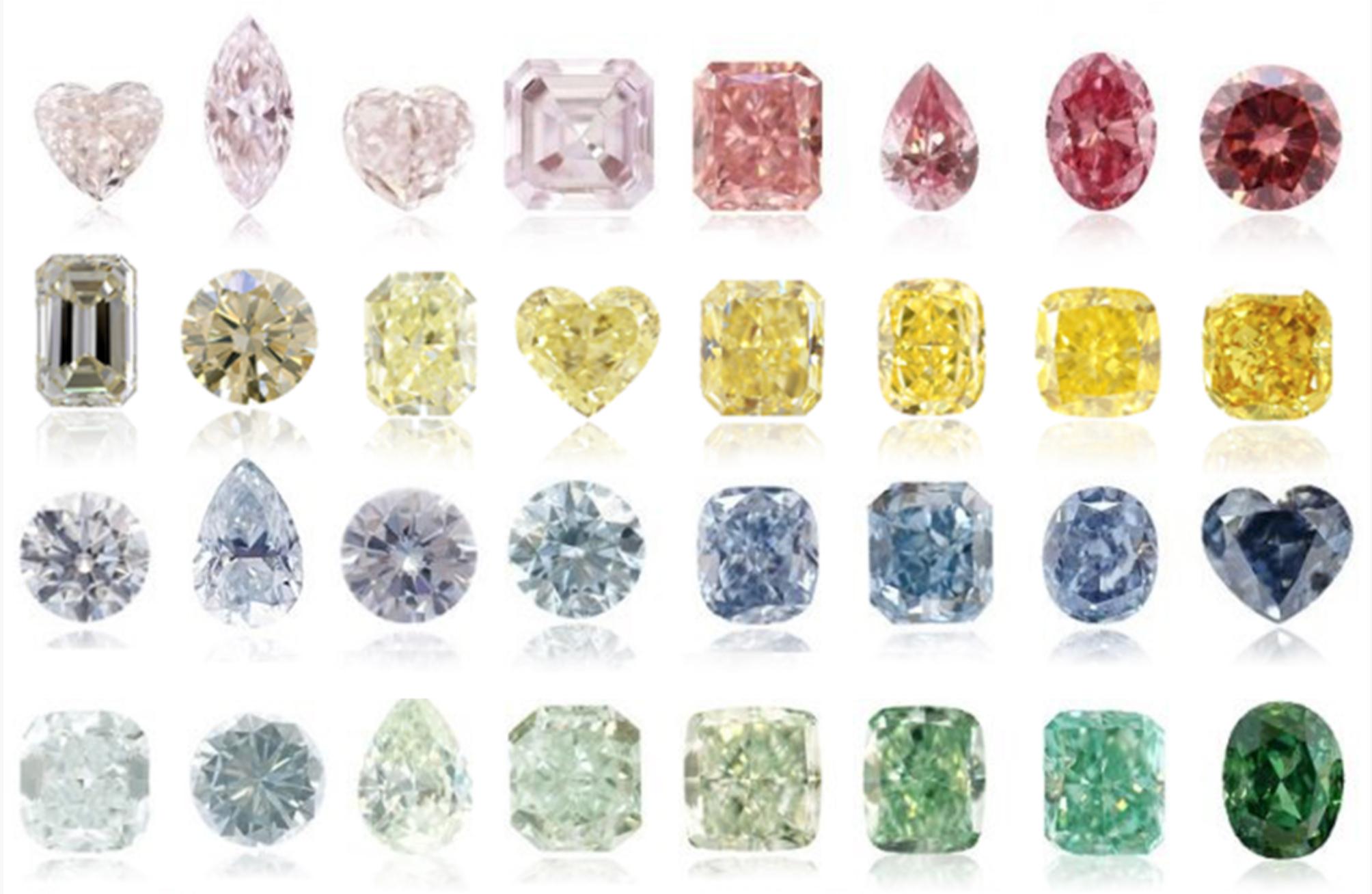 Galeria diamentów o różnych kształtach i nasyceniu kolorów