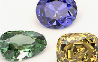 Kolorowe diamenty o różnorodnych kształtach