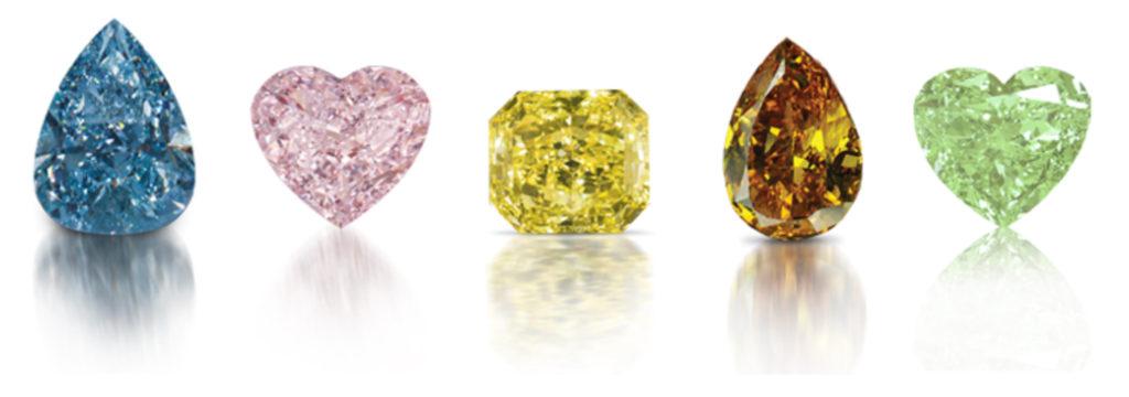 Rząd diamentów o różnych kształtach i kolorach