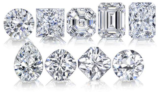 Obraz przedstawia diamenty o różnorodnych kształtach.